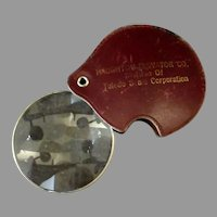 Vintage Folding Pocket Magnifying Glass with Protective Leather Case - Haughton Elevator Co. Advertising