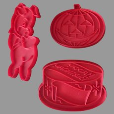 Vintage Tupperware Holiday Cookie Cutters - Collection of Three Shapes including Halloween Pumpkin