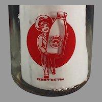 Vintage Arden Farms Milk Bottle - Half Pint w- Pyroglazed Advertising