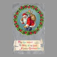 Vintage 1909 Embossed Christmas Postcard with Santa & Sack of Toys