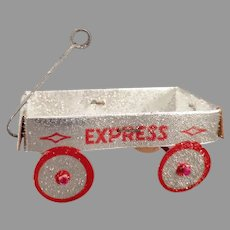 Vintage Christmas Tree Ornament – Coralene, Silver Express Wagon - New Old Stock