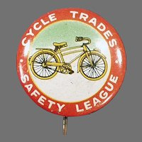 Vintage Tin Advertising Pin Back Button - Bicycle Safety Pinback with Nice Graphics