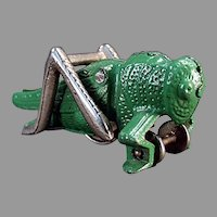 Vintage Hubley Cast Iron Pull Toy - Green Grasshopper - All Original Paint