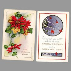 Two Vintage Christmas Postcards – 2 Cards with Holiday Images