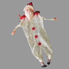 Vintage Net Mesh Christmas Candy Bag with Celluloid Santa Claus Face – Holiday Ornament