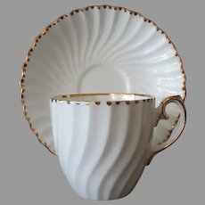 Vintage Gladstone Bone China Cup & Saucer, Gold Trim Old Grecian Flute Pattern
