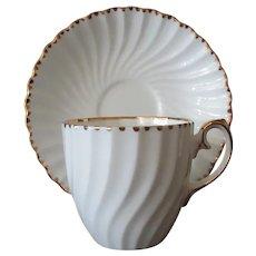 Vintage Gladstone Bone China Cup & Saucer, Gold Trim Old Grecian Flute Pattern
