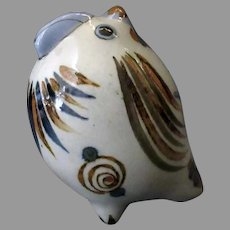 Mexican Pottery – Small Fat Chicken with Blue Bird and Snail Design, Insect Signature