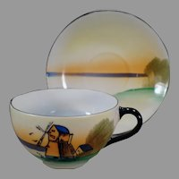 Vintage Porcelain Cup and Saucer - Teacup with Windmill Scene - Made in Japan