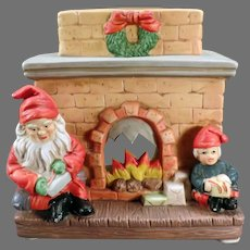 Vintage Christmas Candle Lamp - Fireplace with Santa Claus and Elf
