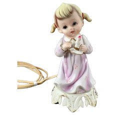 Vintage Little Girl with Candle Porcelain Bisque Nite Lite - Electric Lamp Night Light