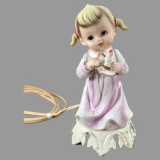 Vintage Little Girl Nite Lite - Porcelain Bisque Girl with Candle Electric Lamp Night Light