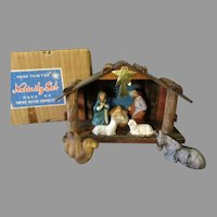 Vintage 1950's Hand Painted, 7 Figure & Stable Nativity Scene Set with Original Box