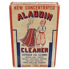 Vintage 1944 Aladdin Cleaner Soap Box - Nice Graphics of Aladdin with Oriental Rug