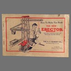 Vintage 1934  A.C. Gilbert Erector Set Manual - How to Make 'Em Diagrams