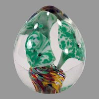 Vintage Glass Egg Paperweight with Green Flower & End of Day Glass