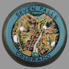 Vintage Glass Advertising Souvenir Paperweight from Seven Falls Colorado