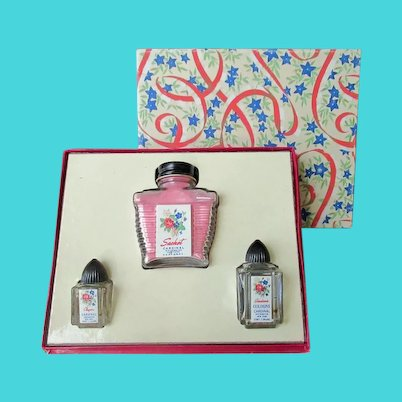Vintage Cardinal Sachet and Perfume Bottles - Boxed Gift Set
