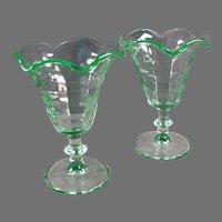 Two Vintage Stemmed Tulip Sundae Ice Cream Dishes - Green Paden City Pattern