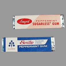 2 Sticks of Vintage Sugarless Chewing Gum - 1960's