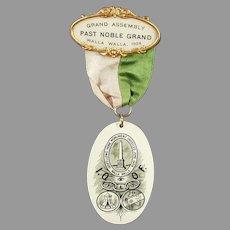 Vintage 1908 Celluloid Odd Fellows Fraternal Pin - Walla Walla Odd Fellows Memorabilia