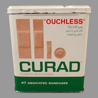 Vintage Curad Ouchless Band-aid Tin - Assorted Bandage Sizes Shown