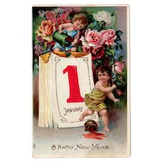 Vintage German Postcard for New Year's with Cherubs - Embossed Design