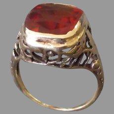 Ladies Vintage Ring - 14k Yellow Gold Filigree & Citrine Estate Jewelry – Size 2
