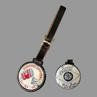 Vintage Celluloid Watch Fob with Diamond Salt Advertising - Two Different Sides, Leather Strap