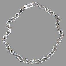 "Vintage 7 1/2"" Long Charm Bracelet Chain - Silvertone"