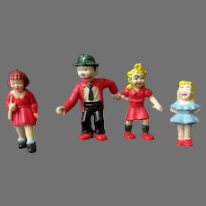 Four (4) Vintage Plastic Comic Strip Character Figures - Toys from Germany