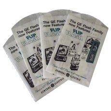 Vintage G. E. Magic Cube & Flip Flash Bulbs Camera Advertising Bags