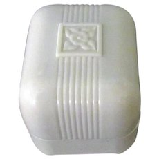 Small Vintage Ring Box – Creamy White Early Plastic with Simple Design