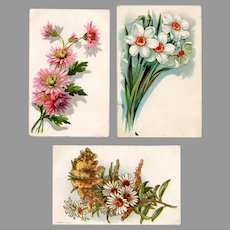 Three Vintage Floral Postcards - 3 Pretty, Generic Cards with Sprays of Flowers