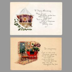 Two Vintage Christmas Postcards – 2 Simple Cards with Quaint Scenes