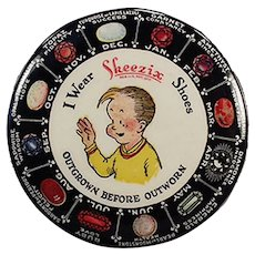Vintage Celluloid Advertising Mirror - Skeezix Shoes with 12 Month Birthstone Gems Chart