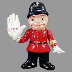 Vintage Celluloid English Bobby Rattle - Cop Policeman with Large Stop Hand