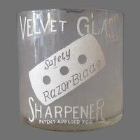 Vintage Velvet Glass Razor Blade Sharpener for Safety Razor Blades
