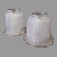 Vintage Light Fixture Shades - Heavily Ribbed Pair