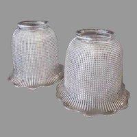 Vintage Light Fixture Shades - Heavily Ribbed Pair