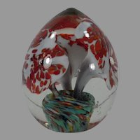 Vintage Glass Paperweight, Egg Shaped with Floral Design - Glass Paper Weight