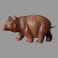 Vintage Figural Celluloid Tape Measure - Brown Bear