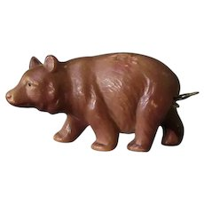 Vintage Figural Celluloid Tape Measure - Brown Bear