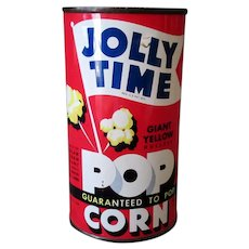 Vintage Jolly Time Popcorn Tin - Never Opened 1946 Red Tin