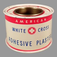 Vintage White Cross Adhesive Plaster Tape Advertising Tin