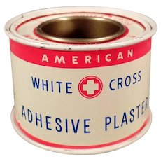 Vintage White Cross Adhesive Plaster Tape Advertising Tin