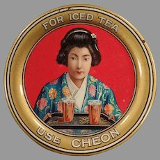 Vintage Advertising Tip Tray - Cheon Tea with Oriental Girl & Colorful Graphics