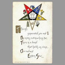 Vintage 1912 Postcard - Eastern Star Masonic Fraternity Bond