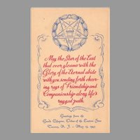Vintage 1943 Eastern Star Masonic Postcard - Grand Chapter Trenton New Jersey