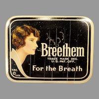 Vintage Breethem Breath Freshener Advertising Tin from the 1930's